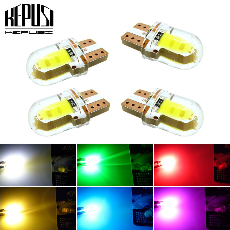 4x T10 Car Led COB 194 W5W Silicone Auto Turn Side License Plate Light Clearance Lamp Parking Bulb Yellow White Red Blue Green