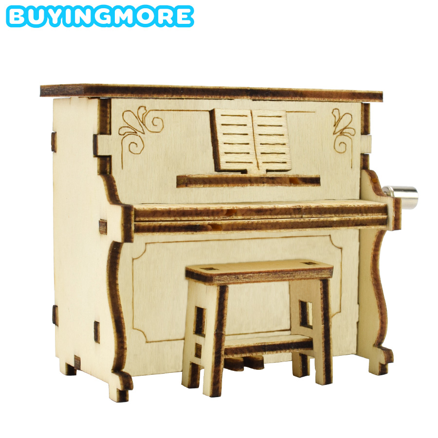 DIY Piano Music Box Model Kit Creative Educational Toys For Children Interest Development Hand Shake Music Box Wooden Model Gift
