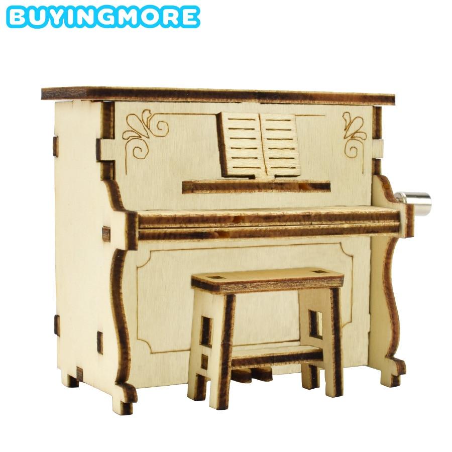 DIY Piano Music Box Model Kit Creative Educational Toys For Children Interest Development Hand Shake Music Box Wooden Model Gift