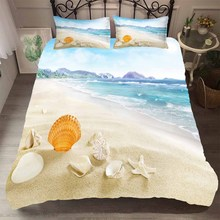 Bed Comforters Scenery Bed Cover Beach and Seashells Pattern Home Textiles Bedroom Clothes King Single Size Ducet Cover