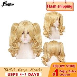 Ebingoo Harley Quinn naturalna blondynka długie ciało fala podwójna kucyk peruka syntetyczna Cosplay na Halloween samobójstwo Squad