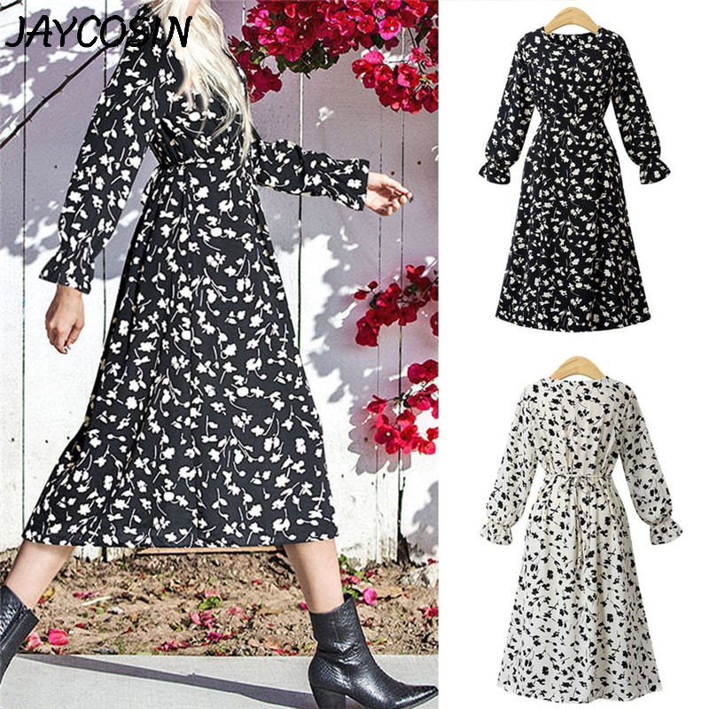 JAYCOSIN Plus Size Women Dress Flower Print Ruffle O-Neck Long Sleeve Dress Autumn Casual Fashion Loose Mid-Calf Dresses Vestido