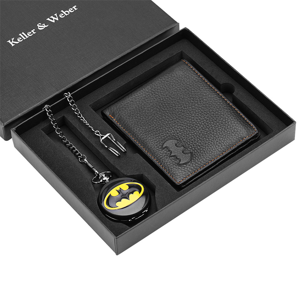 Vintage High Grade Batman Theme Quartz Pocket Watch Purse Box Set For Men Boys Retro Pendant Clock Wallet Xmas New Year Gifts