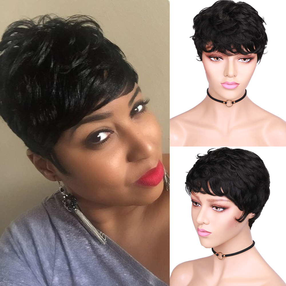 HANNE 100% Human Hair Wigs Short Wet And Wavy Remy Wig Short Curly Pixie Cut With Bangs Black Brazilian Hair None Lace Wig