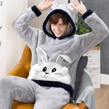 Men's hooded Pullover Pajama suit autumn and winter style winter coral velvet thickened flannel men's winter cartoon home clothe m style диван coral