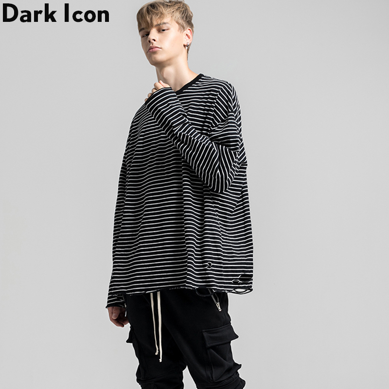 Dark Icon Stripe Ripped T-shirt Men Long Sleeve Round Neck Mens Tshirt Loose Tee Shirts