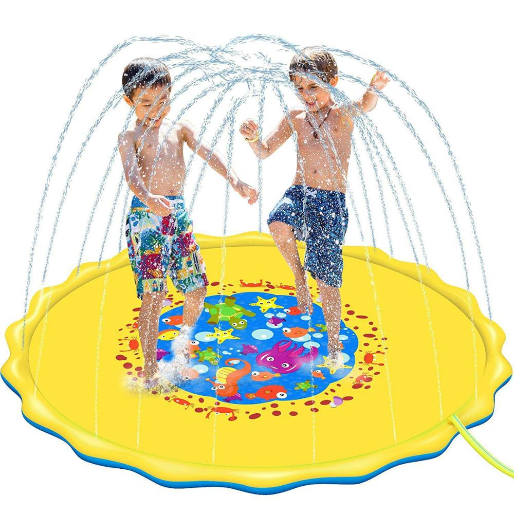 2020 Baby Kids Water Mat Playing Games Water Column PVC Fountain Float Pool Spray  Outdoor Tub Swimming Pool Toys Summer Party