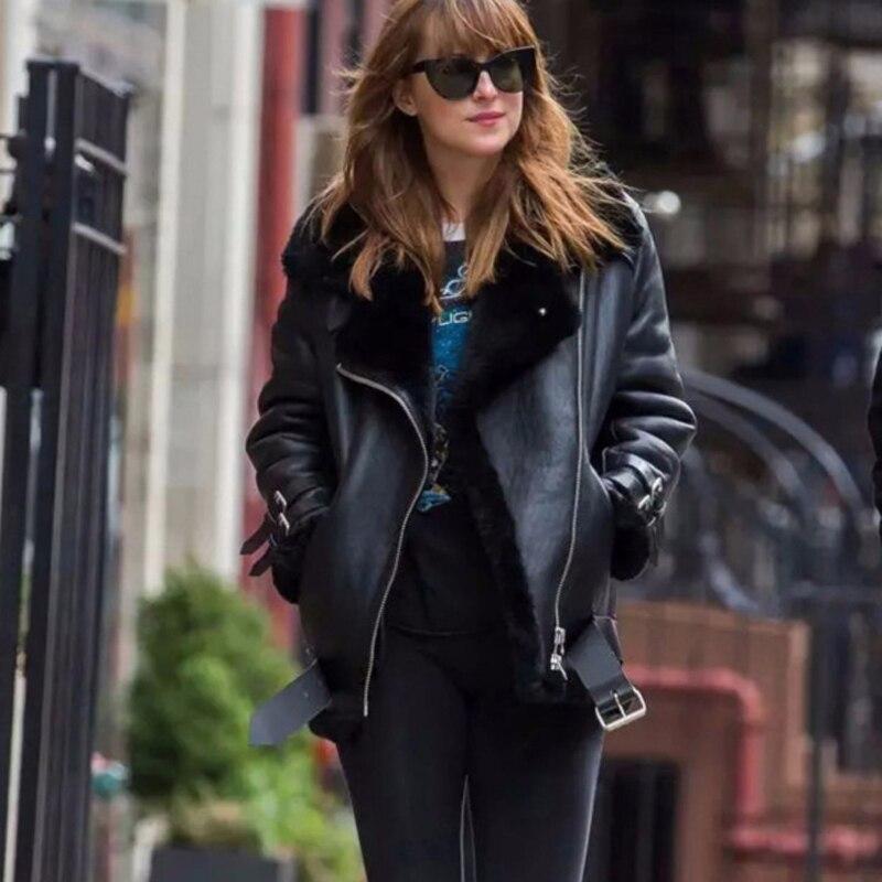 Кожаная мотоциклетная куртка из натуральной овечьей кожи для влюбленных, Черная куртка с флисовой подкладкой, xxl, зима 2019