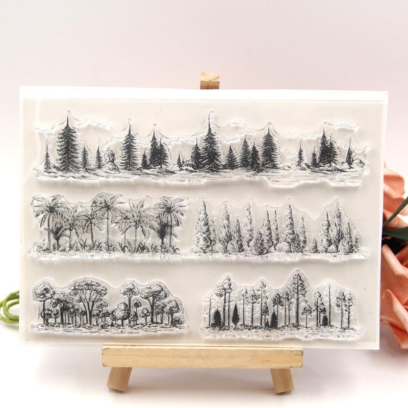 KLJUYP Trees Transparent Clear Stamp For DIY Scrapbooking/Card Making/Kids Christmas Fun Decoration Supplies