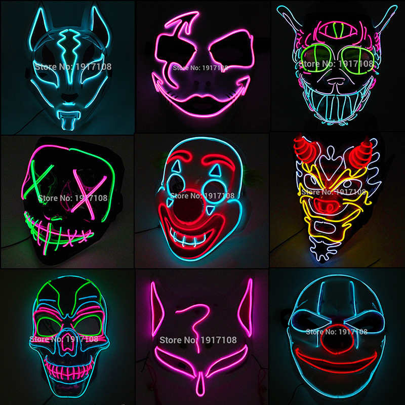 Hot Sales Halloween Horror Mask LED Neon Light up Mask Carnival Party Scary Mask Cosplay LED Mask Glow Party Supplies Dropship