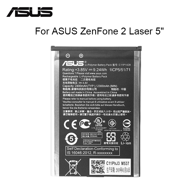 ASUS Original Replacement Phone Battery C11P1428 2400mAh For Asus ZenFone 2 Laser ZE500KL ZE500KG Z00ED 5