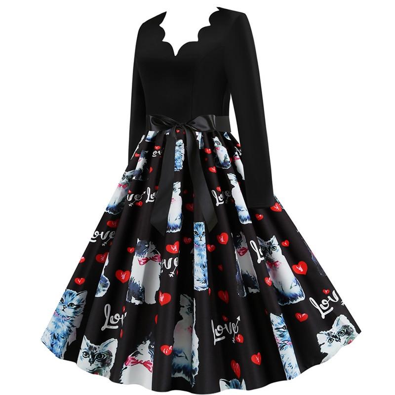 Women Long Sleeve Winter Vintage Dresses Sexy Black Music Note Print V-neck Rockabilly Pin up Party Dress Vestidos Plus size 606
