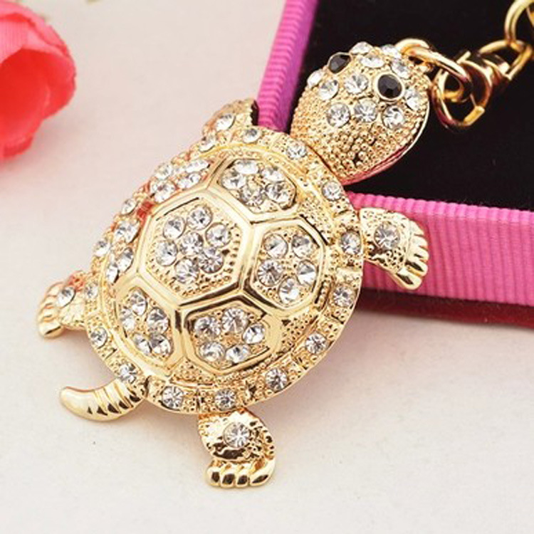 Fashion Colorful Rhinestone Turtle Keychain Cute Gold Color Animal Pendant Bag Car Key Chains Keyring With Buckle Accessories