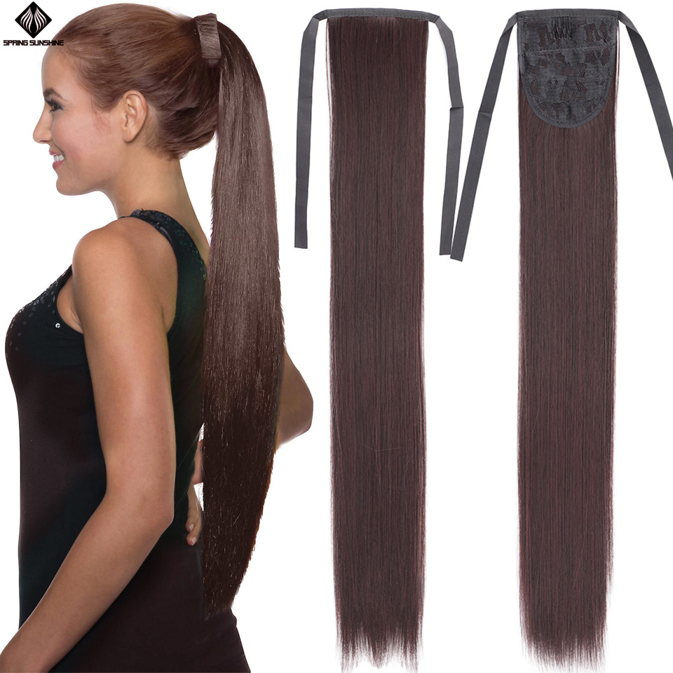26inch Long Straight Synthetic Hair Ponytail Clip In Hair Tail False Hair Piece With Hairpins Hair Extensions 18 22inch