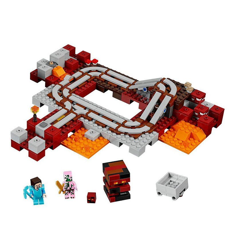 The Nether Railway Building Blocks With Steve Action Figures Compatible Lepining MinecraftINGlys Sets Toys For Children 21130