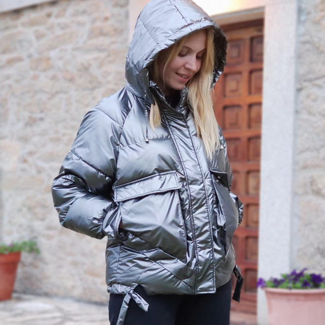 Winter women short parkas jackets casual female thicken warm hooded jackets coat windprood shiny big pocket jackets 3