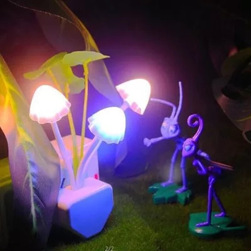 Novelty LED Kids Night Light EU & US Plug Mushroom Lamp Bedroom Children Room Chritmas Colorful Sensor Lava Lamp