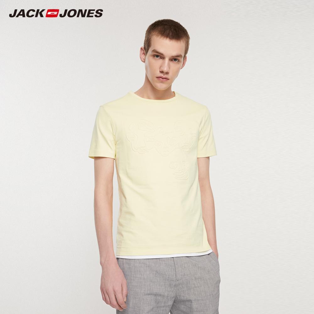 JackJones Men's 100% Cotton Slim Fit 3D Pattern Short-sleeved T-shirt|streetwear  219201560