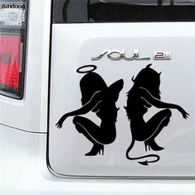 14*11cm Hot Sale Classic Sexy Girls Sticker Angel Devil for Car Decal Rear Accessories Kia Soul Peugeot 207 Land Rover Buick