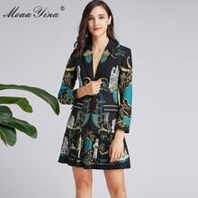 MoaaYina Fashion Designer Suit Spring Autumn Women Long sleeve Suit Tops+Pleated skirt Vintage Print Black Elegant Two piece set