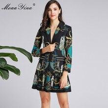 MoaaYina, traje de diseñador de moda para primavera Otoño, traje de manga larga para mujer, Tops + Falda plisada, conjunto de dos piezas elegante negro estampado Vintage