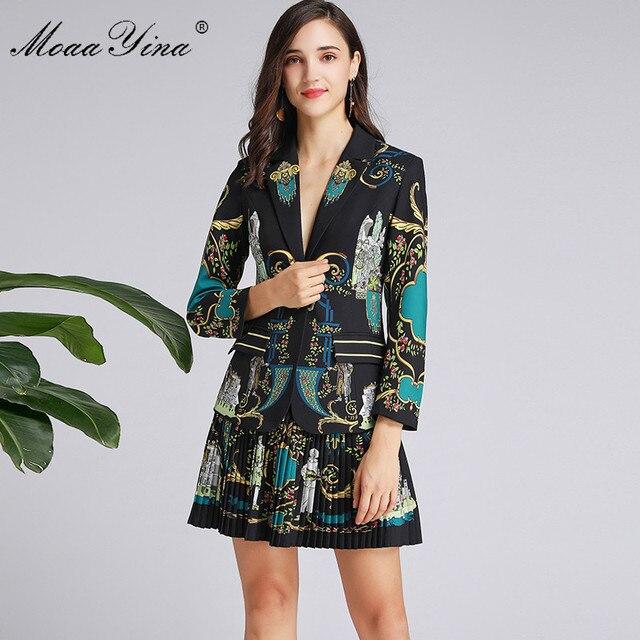 MoaaYina แฟชั่นฤดูใบไม้ผลิผู้หญิงฤดูใบไม้ร่วงแขนยาวชุดเสื้อ + กระโปรงจีบ VINTAGE พิมพ์สีดำ Elegant 2 ชิ้นชุด