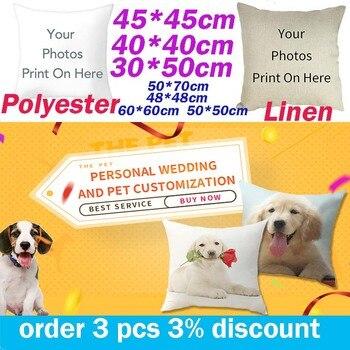 Fuwatacchi, imagen de diseño de lino, foto Personal, fotos de mascotas de boda, regalo personalizado, funda de almohada, funda de cojín, funda de almohada