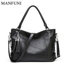 Fashion Female Shoulder Bag 100% Natural Cow Leather Women Handbag With Tassel Lady Messenger Crossbody Bags Tote Purse Black