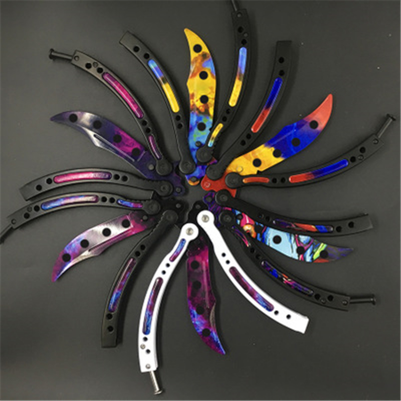 Butterfly In Knife Training Stainless Steel Knife Butterfly No Edge Knife Tactical Strike Game Folding Knife No Edge Dull Tool
