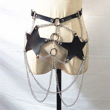 Fashion Handmade Pentagram Leather Waist Belt Women Sexy Body Bondage Strap Goth Metal O Rings Link Chain Harness Belt Waistband(China)