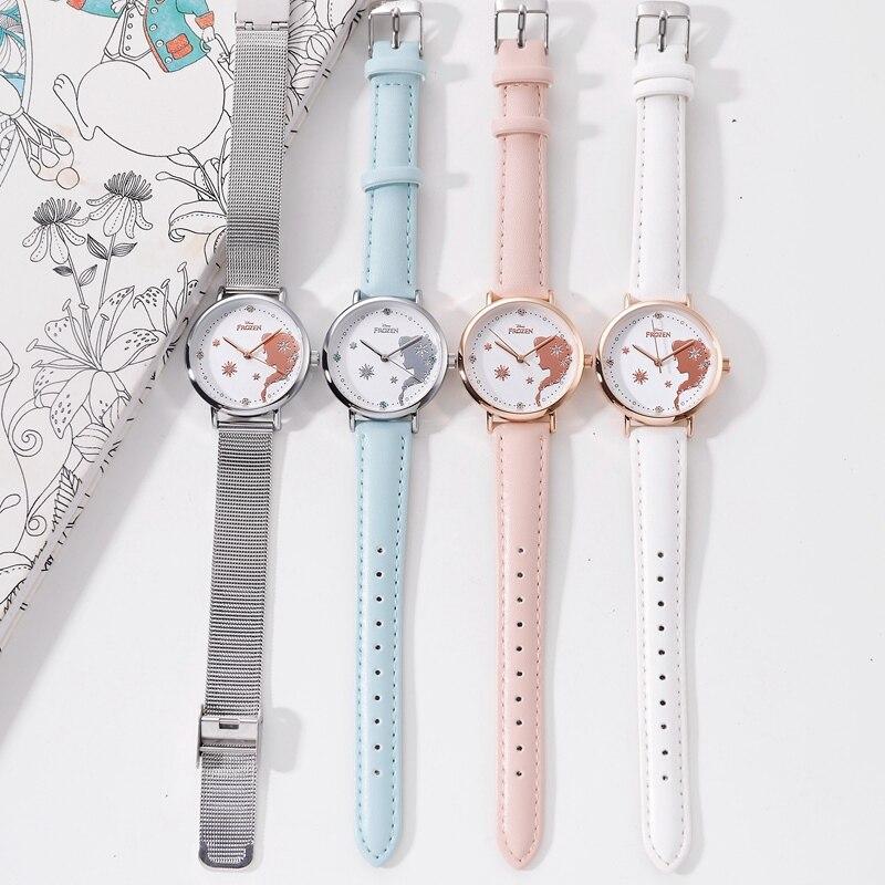 Женщины мода повседневная часы женские сталь сетка ремешок кварц часы девушки красивая розовый теплый дети часы дети ребенок подарок кол саати