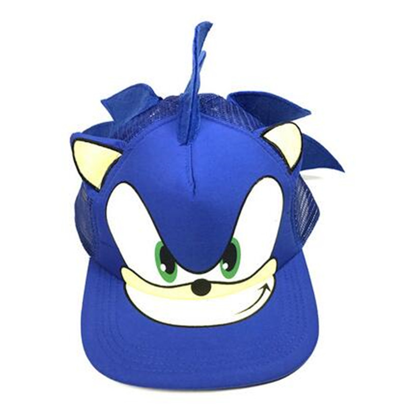 Hot Anime New Sonic The Hedgehog Cartoon Youth Adjustable Hip Pop Hat Cap Blue For Boys Sonic Hot Selling Cosplay  Party Gifts