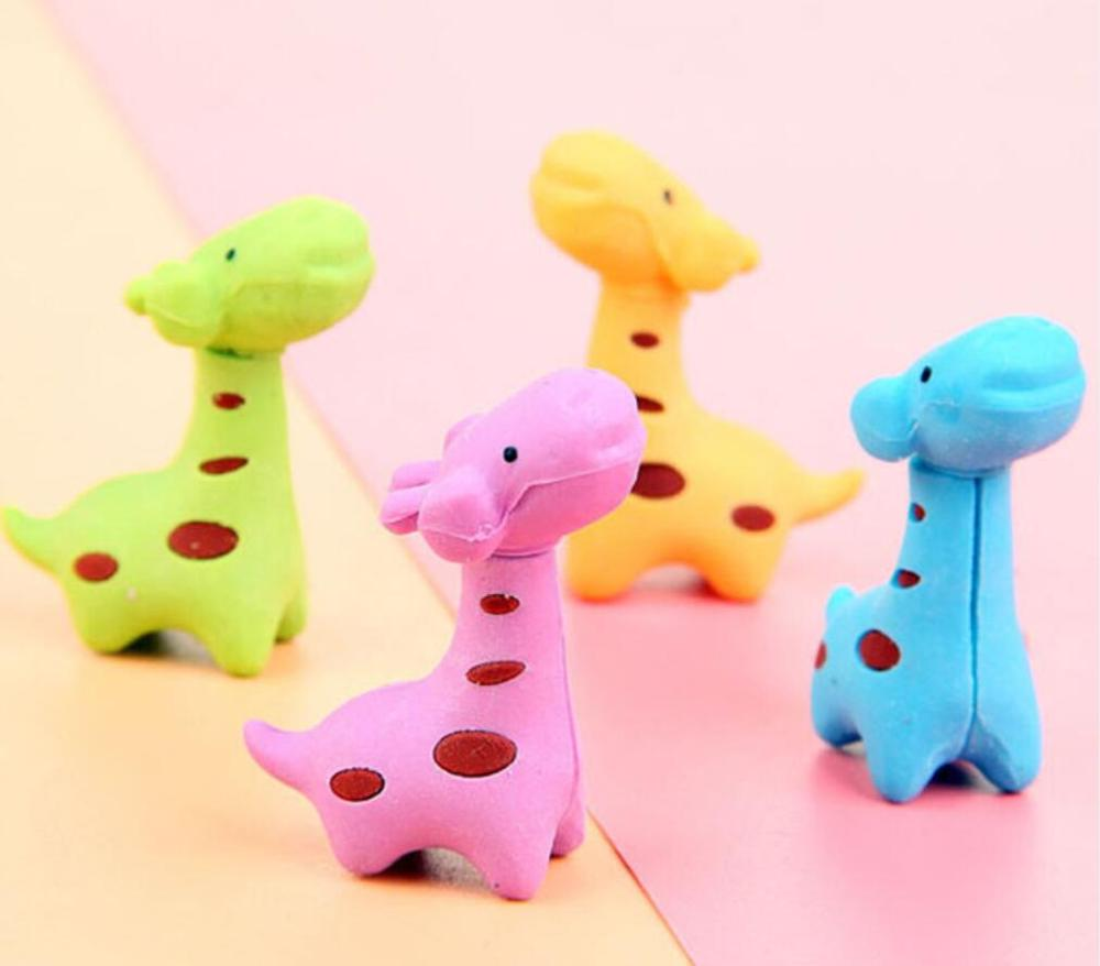 2pcs cute giraffe animal Eraser Set Kawaii Rubber Erasers Primary Student Prizes Promotional Gift Stationery school supplies