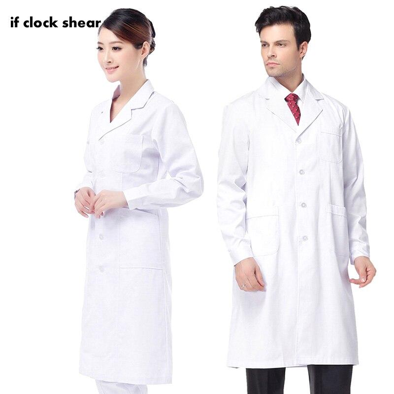 High Quality Unisex White Medical Coat Medical Services Long-sleeve Uniform Pharmacist Nurse Work Clothing White Lab Coats Gown