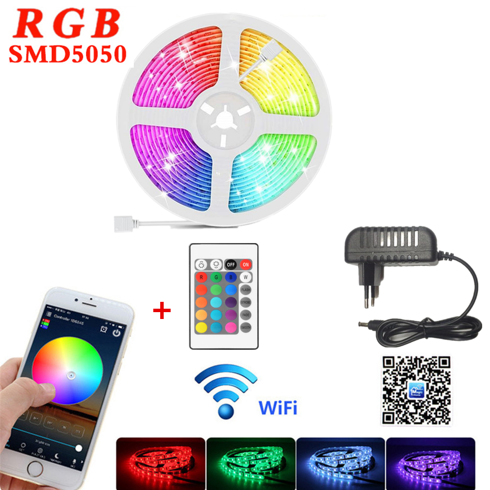 5M 10M 15M LED strip light 12V Smart WIFI control RGB luces led lights strips 5050SMD Flexible tape lamp waterproof Lighting