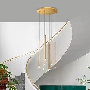 Image 5 - Moderne Einfache LED Kronleuchter Schwarz oder Gold 24W 36W Beleuchtung Hängen Leuchten Für Duplex Rotierenden Treppe Wohnzimmer lampen