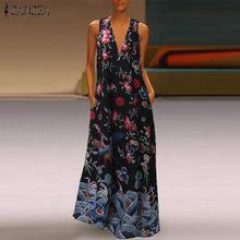Vintage Printed Maxi Dress Women's Summer Sundress 2020 ZANZEA Casual Sleeveless