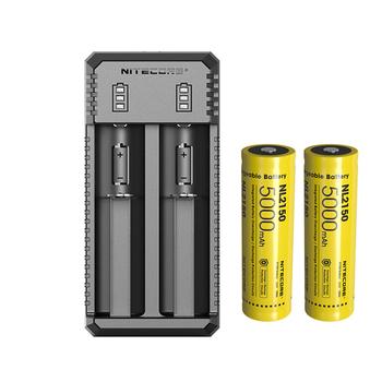 NITECORE UI2 podwójna ładowarka USB inteligentna ładowarka do akumulatora + akumulator litowo-jonowy NITECORE 21700 NL2150 5000mAh 3 6V 18Wh tanie i dobre opinie CCC CE RoHS DC 5V 2A 10W batteries charger