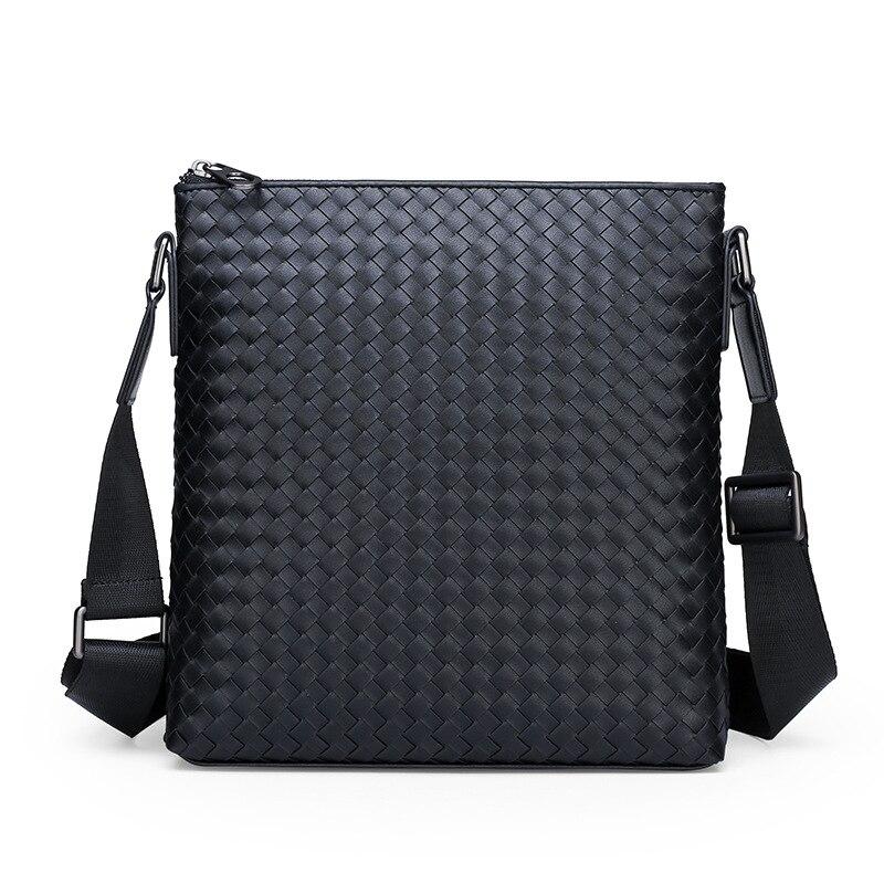2019 New Men's Business And Leisure Briefcase One-shoulder Vertical Woven  Men's Oblique Breathable Wear-resistant Briefcase