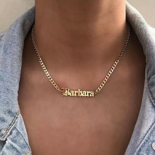 Custom Name Necklace For Women Stainless Steel Old English Necklace Gold Chain Choker Nameplate Necklace Boho Bff Jewelry