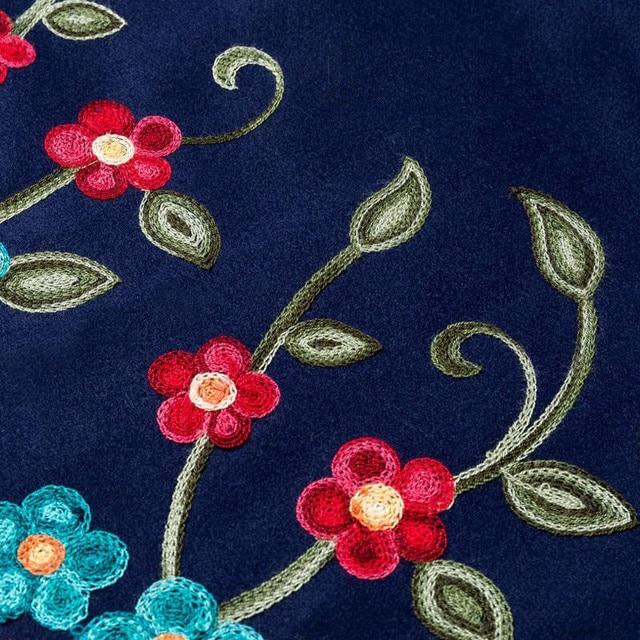 Mom elegant Embroidered Maxi pleated skirt Women Plus Size Winter Warm Woolen Long Skirt Lady High Waist Casual Wool Office saia 2