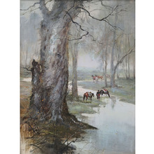 Handpaint Art Horses Carrying Goods Caravan in Forest Landscape and Oil Painting on Canvas By Smart Artist