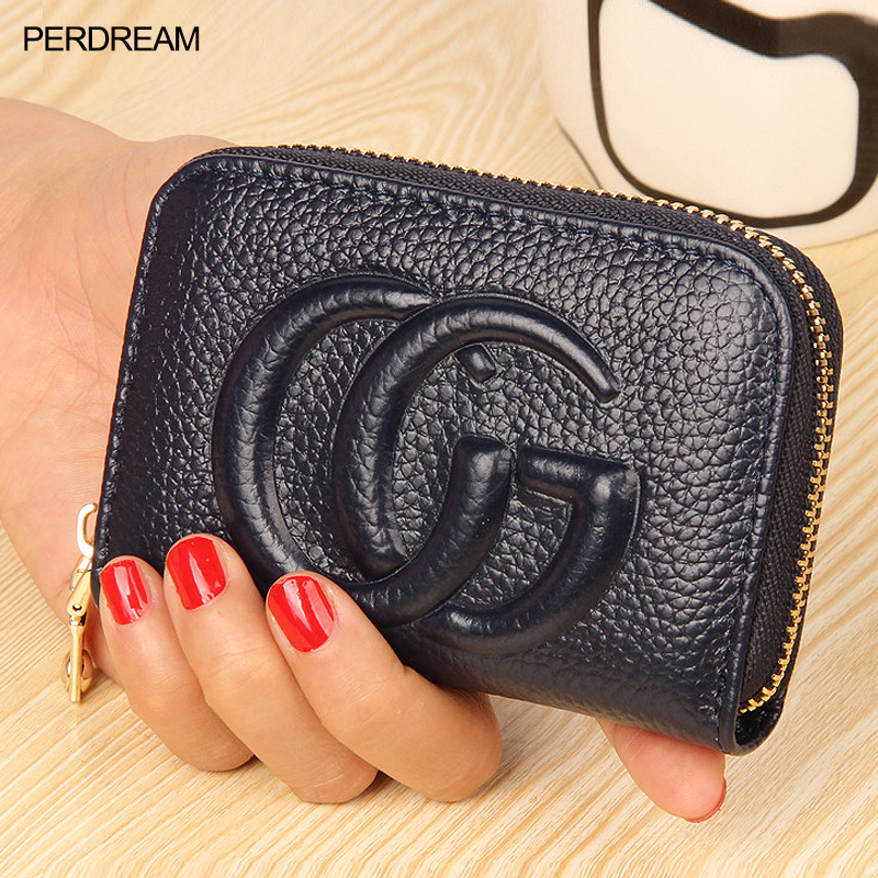 The First Layer Of Leather Organ Card Bag Ladies Leather Card Holder Coin Purse Men's Multi-card Card Package Zipper Purse