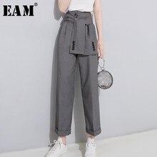 [EAM] 2021 wiosna wysokiej gorset czarny Slim Temperament fala Trend mody nowych kobiet swobodna dzikość szerokie spodnie nogi LA462