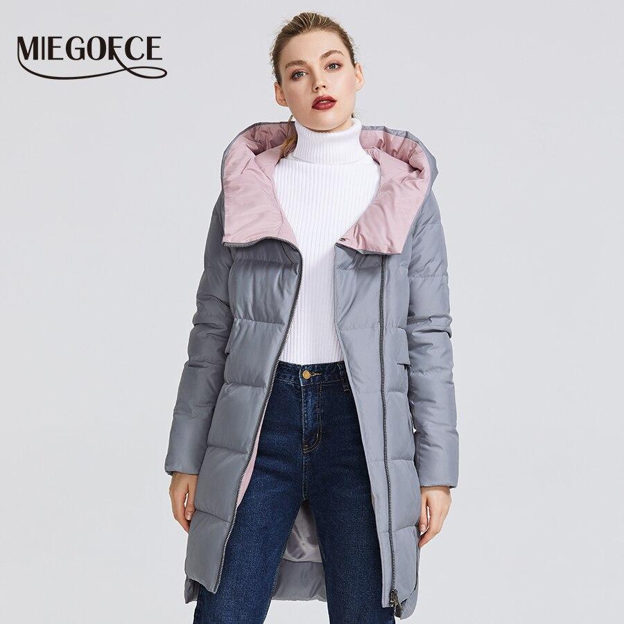 MIEGOFCE 2019 kolekcja zimowa damska ciepła kurtka wykonane z prawdziwego Bio Parka kobiety wiatroszczelna Stand Up kołnierz z kapturem płaszcz w Parki od Odzież damska na  Grupa 2