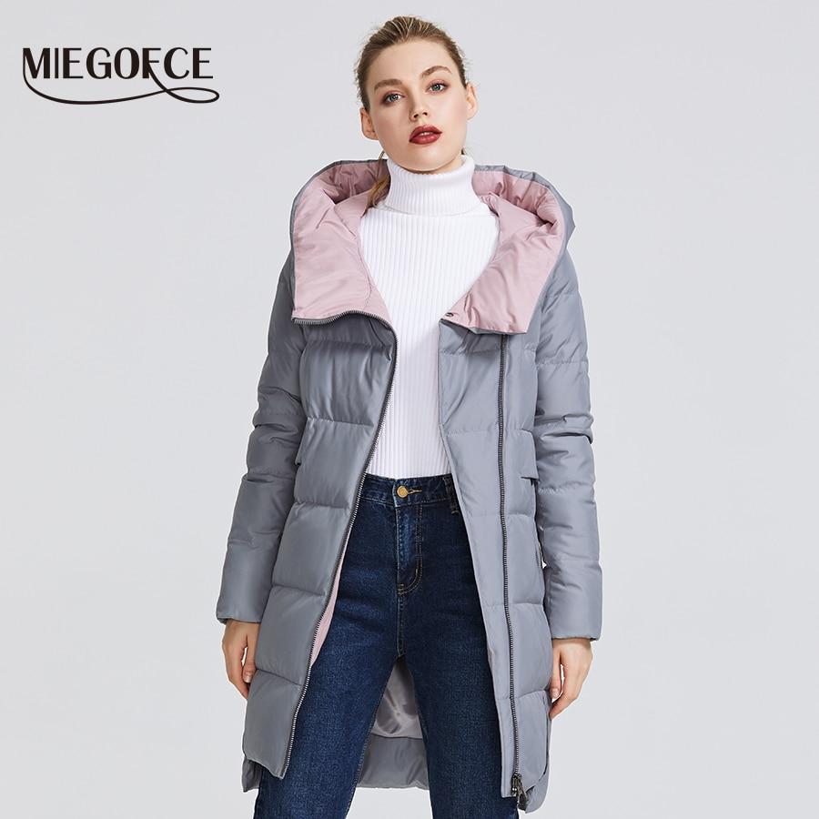 Miegofce 2019 겨울 컬렉션 여성용 웜 자켓, 리얼 바이오 파커로 만든 여성 방풍 스탠드 칼라, 후드 코트 포함-에서파카부터 여성 의류 의  그룹 2