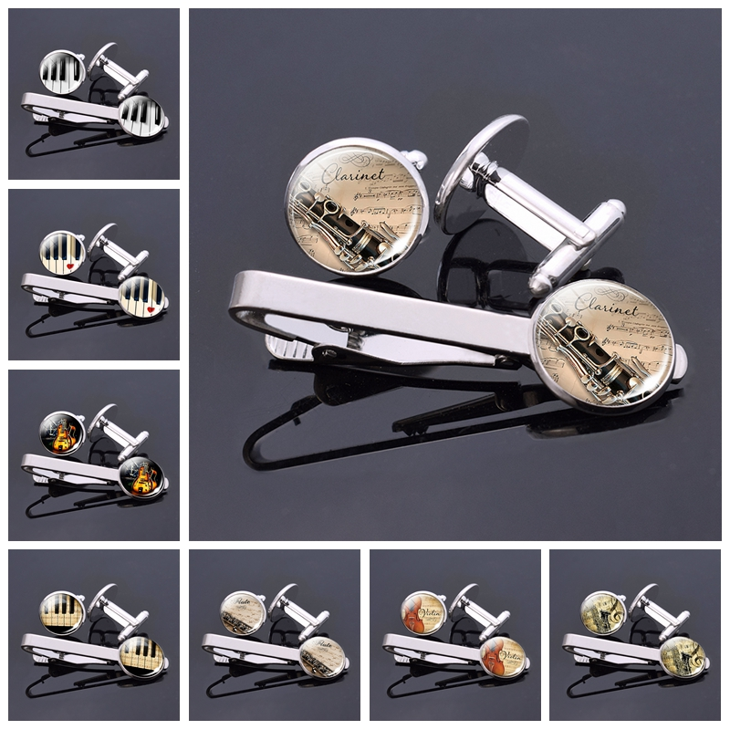 Fashion Mens Music Instrument Jewelry Violin Piano Guitar Clarinet Flute Pattern Glass Cabochon Cufflinks And Tie Clips Set