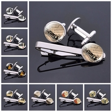 Fashion Mens Music Instrument Jewelry Violin Piano Guitar Clarinet Flute Pattern Glass Cabochon Cufflinks and Tie Clips Set b fairchild 3 pieces for clarinet and piano op 12