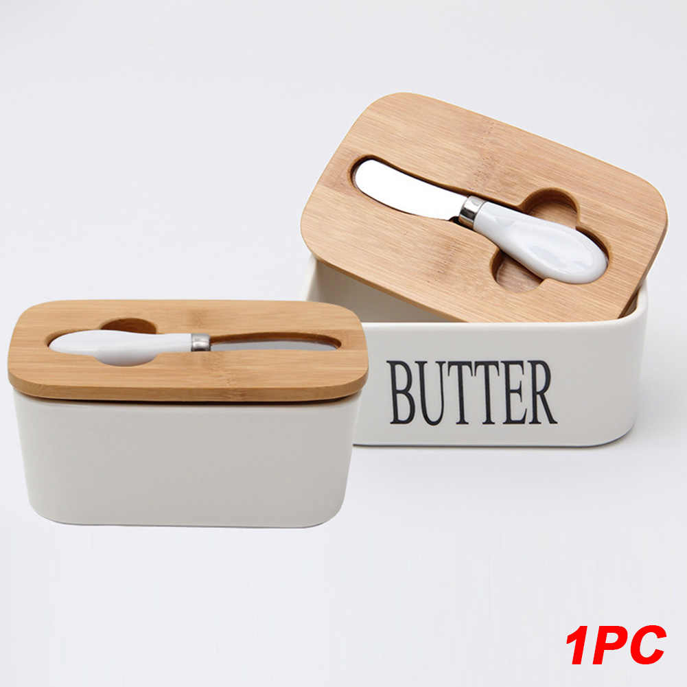 Nordic Style Butter Box Dish Sealing Food Container Cheese Server Storage Keeper Tray With Wood Lid Keeper Plate Kitchen Tool