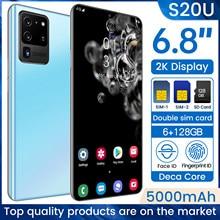 S20u 6.8 polegadas ultra-fino celular 6.8 polegada hd + gota de água 12g 512g telefone móvel 4g/5g internet smartphones